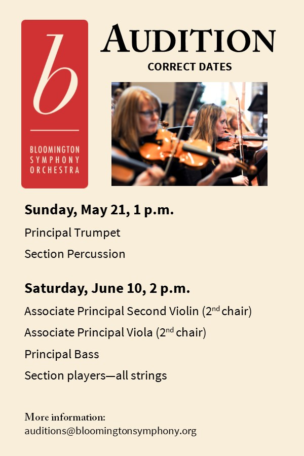Auditions | Bloomington Symphony Orchestra (BSO)| A community
