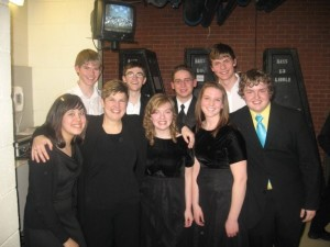 "My All-State ""Clique"" with that year's conductor, Nancy Stutzman"