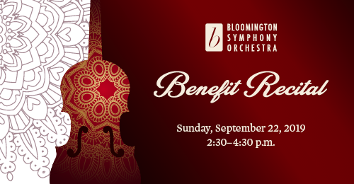 A graphic representation of a violin and a flower like design. Text says Benefit Recital, along with the BSO logo, date of September 22 and time of 3 p.m.