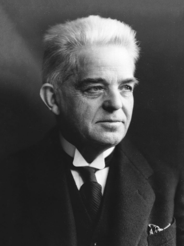 A black and white photograph of Danish composer Carl Nielsen from 1931
