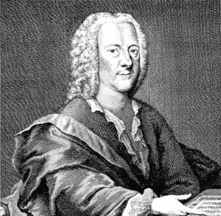 A black and white etching of composer Georg Philipp Telemann wearing a white powdered wig and robes over his writing outfit