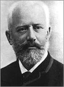 A black and white photograph of Piotr Ilyich Tchaikovsky
