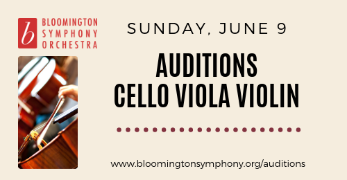Auditions for cello viola violin on June 9