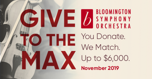 """Image of a violin with the words """"Give to the Max"""", you donate, we match, up to $6,000"""